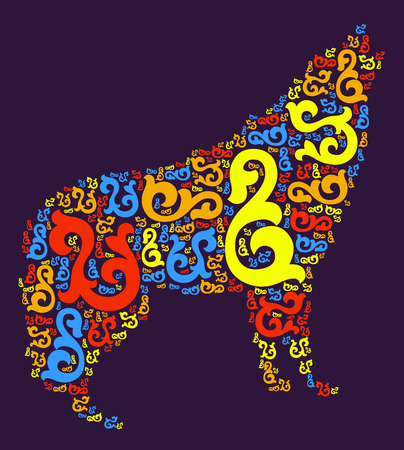 Wolf shape  design illustration Illustration