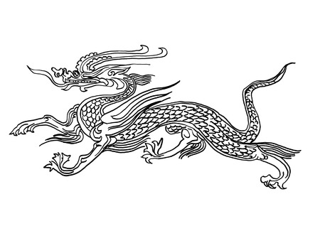 chinese dragon tattoo illustration Stock Photo