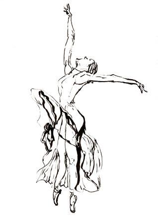 ballet dancer hand drawn illustration,art design,wall inspiration 免版税图像