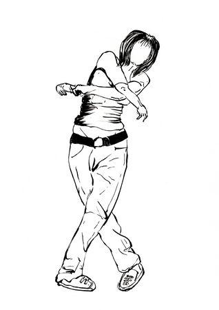 dancer hand drawn illustration,art design,wall inspiration