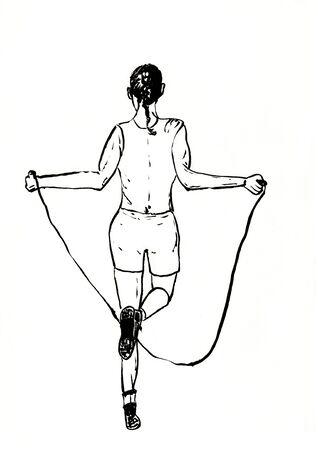 rope skipping sports lifstyle hand drawn illustration,art design,wall inspiration