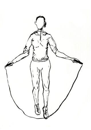 rope skipping sports lifestyle hand drawn illustration,art design,wall inspiration 免版税图像