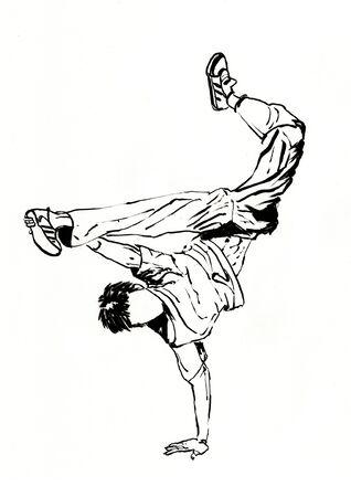 street dancer hand drawn illustration,art design,wall inspiration
