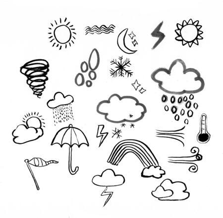 weather doodle hand drawn illustration,art design,wall inspiration