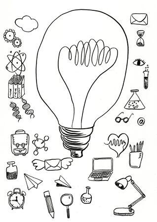 doodle science hand drawn illustration,art design,wall inspiration 免版税图像
