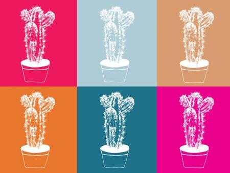 cactus hand drawn illustration,art design,wall inspiration 免版税图像