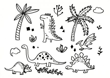 doodle dinosaur hand drawn illustration,art design,wall inspiration 免版税图像