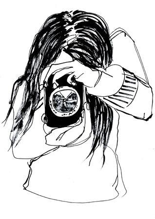 take photo girl hand drawn illustration,art design,wall inspiration