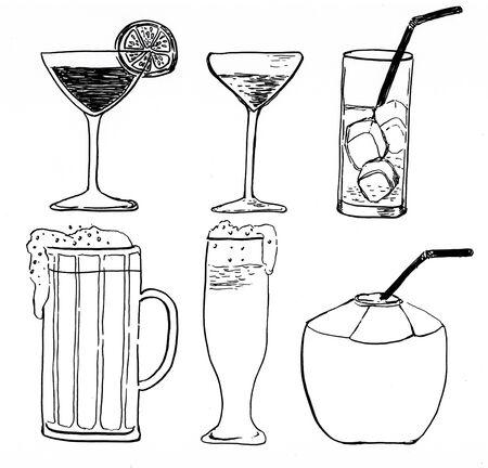 doodle drink hand drawn illustration,art design,wall inspiration
