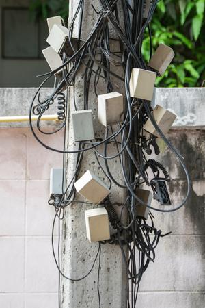 telephone poles: Line Telephone Accident Stock Photo