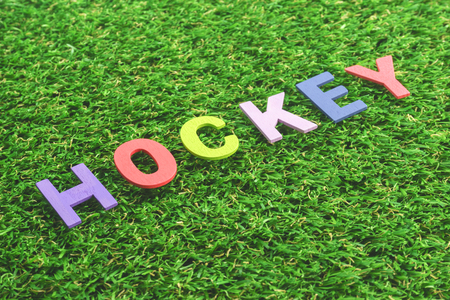hockey cesped: Colorful Wooden Alphabet Word hockey on green grass background