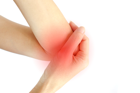 Woman Elbow pain on white background Stock Photo