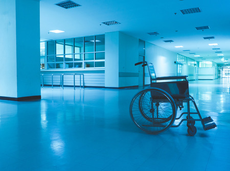 Wheelchair Hospital scary and lonely Stock Photo