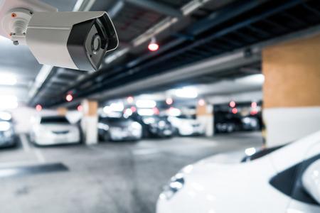 CCTV Blur image and Boken Night Car Parking