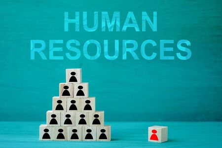 Concept Human resources search block wooden on background