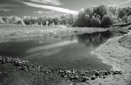 Lower Lake Herring Outlet, infrared                                Stok Fotoğraf
