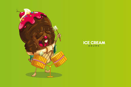 Cute and fun chocolate ice cream character with strawberry and cherry sauce. Sweet rock star