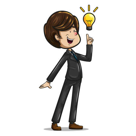 The cheerful and funny businessman dressed in dark suit, aquamarine tie and brown shoes, posing with the index finger and a light bulb that denotes an idea.