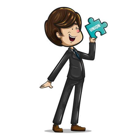 Alegre y divertido hombre de negocios vestido con traje oscuro, corbata color aguamarina y zapatos marrones, posando con una pieza de rompecabezas en la mano. Ilustración vectorial sobre fondo blanco