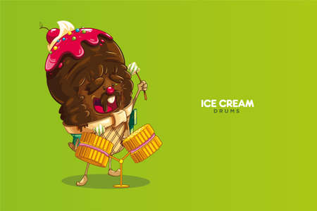 Cute chocolate ice cream character musician playing drummer of strawberry cookie with marshmallows, cherry nose. vector illustration on green background
