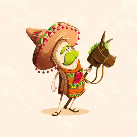 funny character based on the burrito, a typical Mexican food meal accompanied by a burrito and a typical Mexican hat, with a chili on the chest