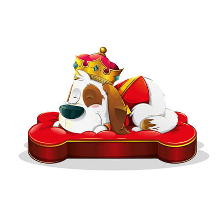 Cute sleeping dog dressed as a king with a crown, on a red bone-shaped bed on white background