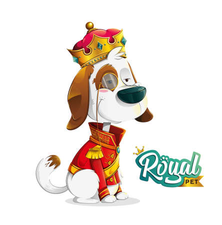 Funny stylish cartoon dog sitting dressed up as king with crown, red suit and eye monogram on white background and extra royal pet logo