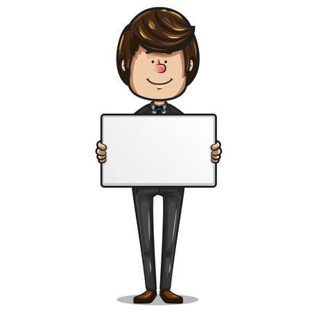 Cheerful brown haired businessman, dark suit dress, aquamarine tie and brown shoes holding a white board to add text, on white background