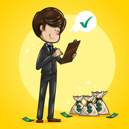 Cheerful and funny brown haired businessman, dressed in dark suit, aquamarine tie and brown shoes checking list, with money bags beside him. illustration on yellow background