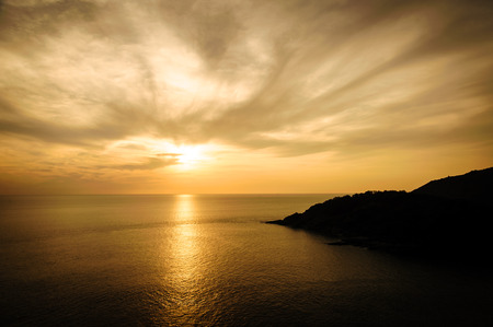 Silhouette with color of the sunset Phuket view point thailand