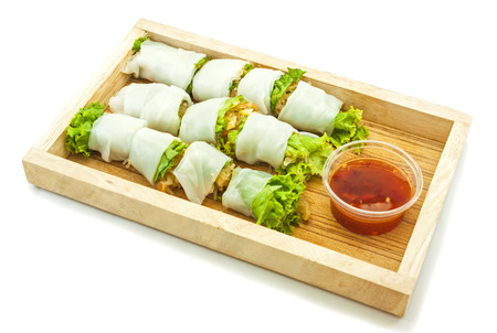 peanut sauce: Rice paper wrapped vegetable with vermicelli noodles and a thai peanut sauce