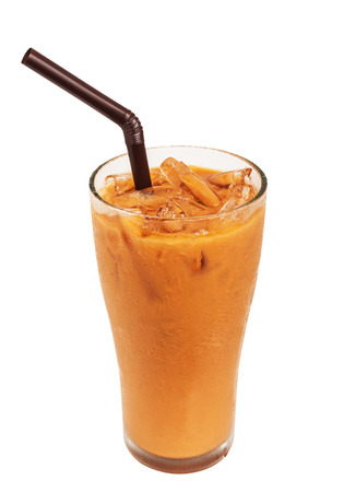 Ice milk tea, famous drink isolated on white background, Clipping path