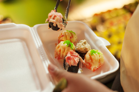 hashi: Sushi set in a foam box, Sushi collection Stock Photo