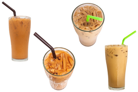 Ice tea and ice coffee sweet drink isolated on whute background Standard-Bild