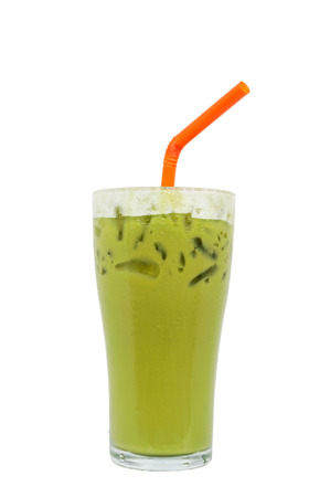Ice milk green tea famous drink, isolated on white background, Clipping path