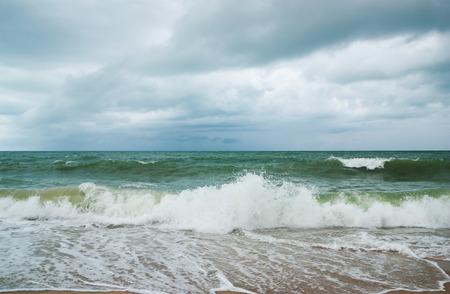 seaa: Seaa and beach with sky and storm cloud