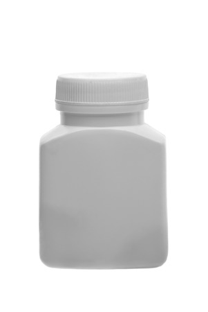 pill bottle: Medicine white pill bottle isolated on a white background