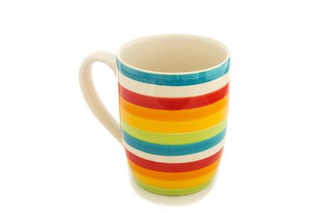 taza cafe: Arco iris taza aislado en un fondo blanco
