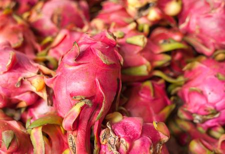 cactus species: Dragon fruit on market stand, Selective focus Stock Photo
