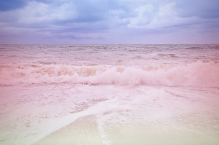 seaa: Vintage seaa and beach with sky and storm cloud Stock Photo