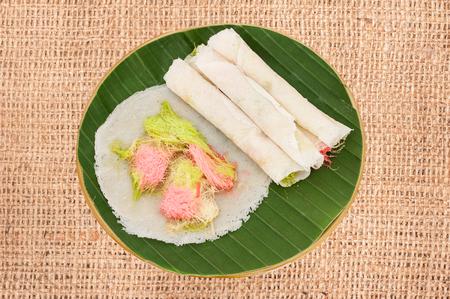 thai style: Cotton candy burrito pancake on cloth, Name thai (Roti Saimai)