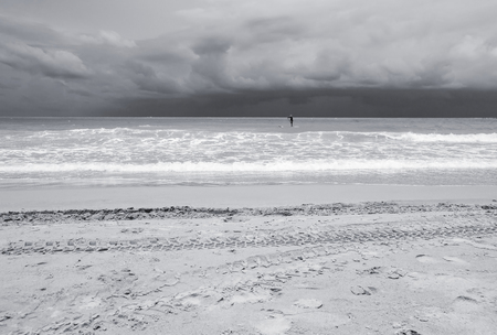 seaa: Seaa and beach with sky and storm cloud, Black and white tone
