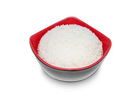 asian food: White rice in bowl isolated on white background, Clipping path Stock Photo