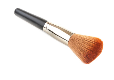 make up brush: Make up brush powder isolated on white background, Clipping path