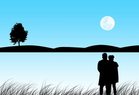 moon light: Silhouette the lover romance in the moon light with copy space for text