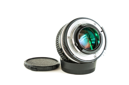 old photo: Old camera photo lens on white background Stock Photo