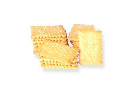 sesame cracker: Stacked butter biscuits with sesame in white plate isolated on white background