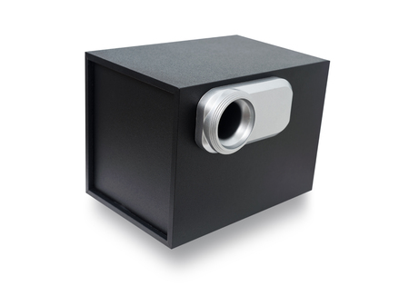 subwoofer: Black sound speaker, Subwoofer speaker bass isolated on a white background with clipping path