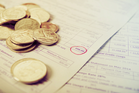 expenditure: Save money concept, Bill and coins on office table, Bill for income and expenditure, Save money for prepare vintage style