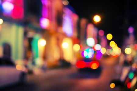 Vintage city night light bokeh and chrismas light blurred background